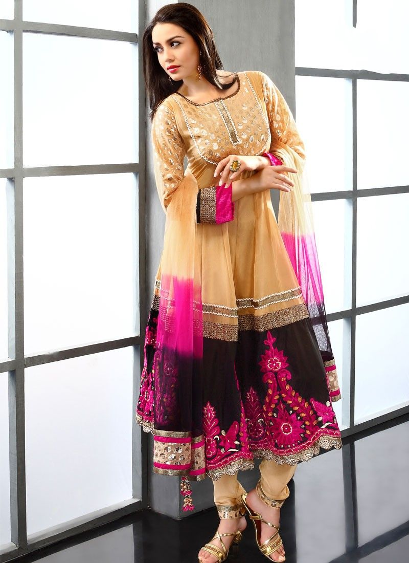 Pale Orange Viscose Anarkali Suit