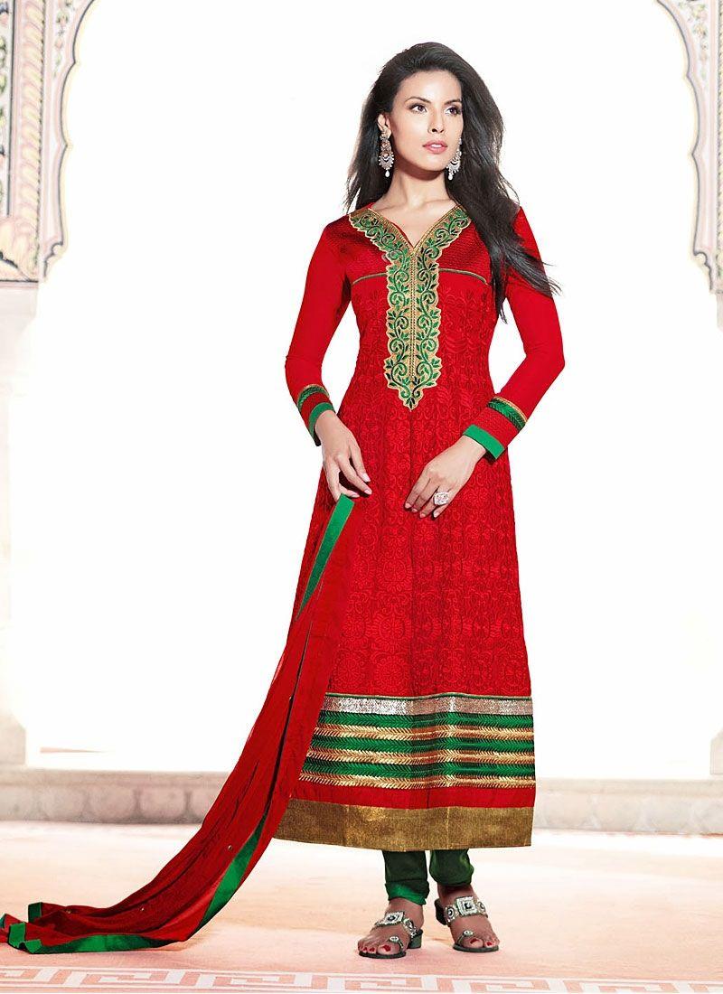 Paradise Red Georgette Designer Churidar Suit