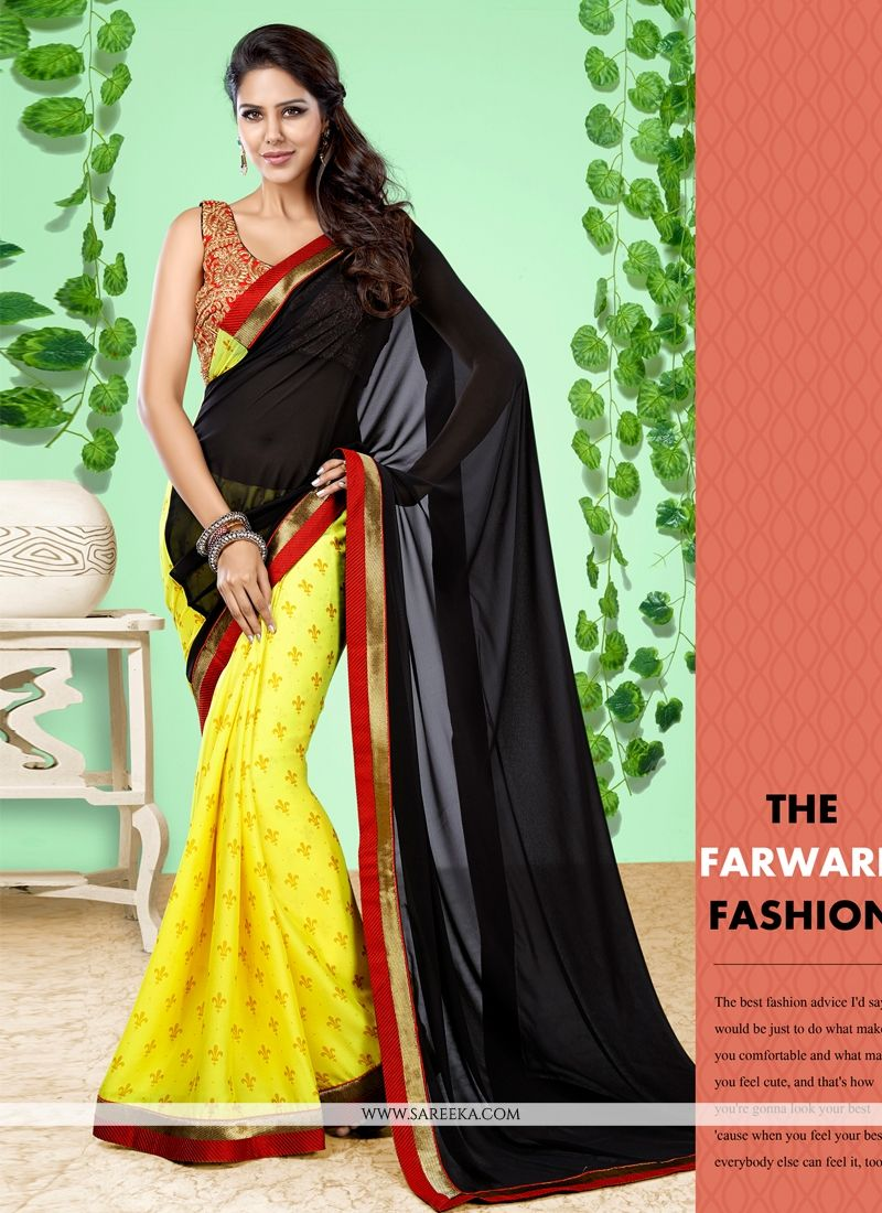 Black and Yellow Designer Half N Half saree