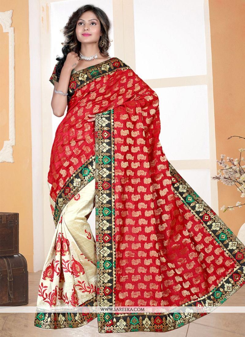 Chanderi Cream and Red Designer Saree
