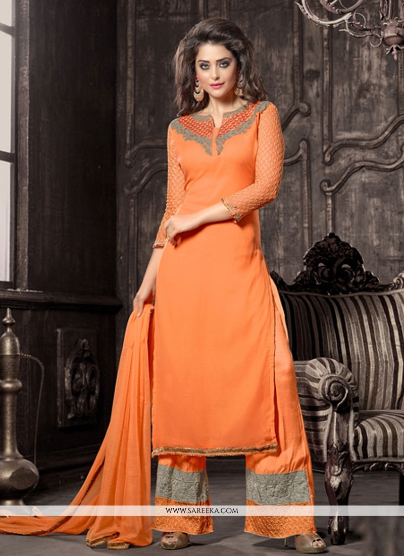 Georgette Resham Work Designer Palazzo Salwar Suit