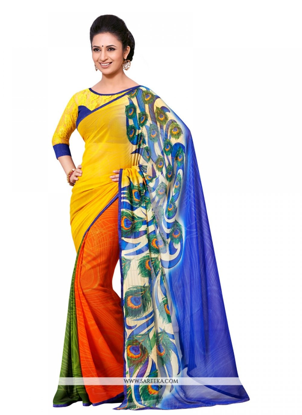 Multi Colour Georgette Designer Saree