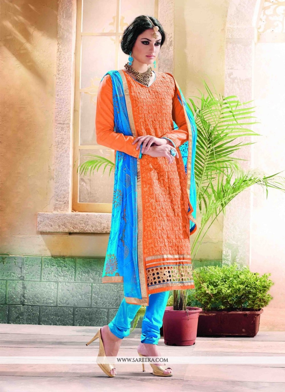 Orange Lace Work Chanderi Churidar Designer Suit
