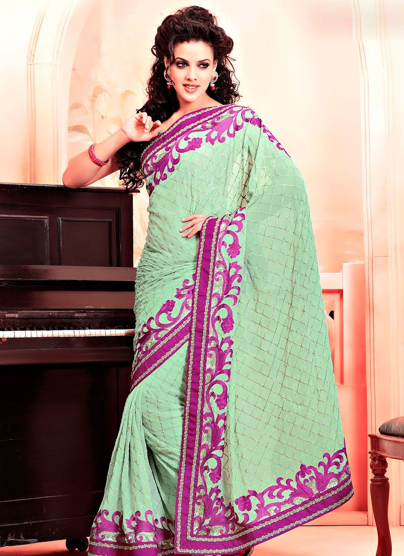 Pastel Green Faux Georgette Saree