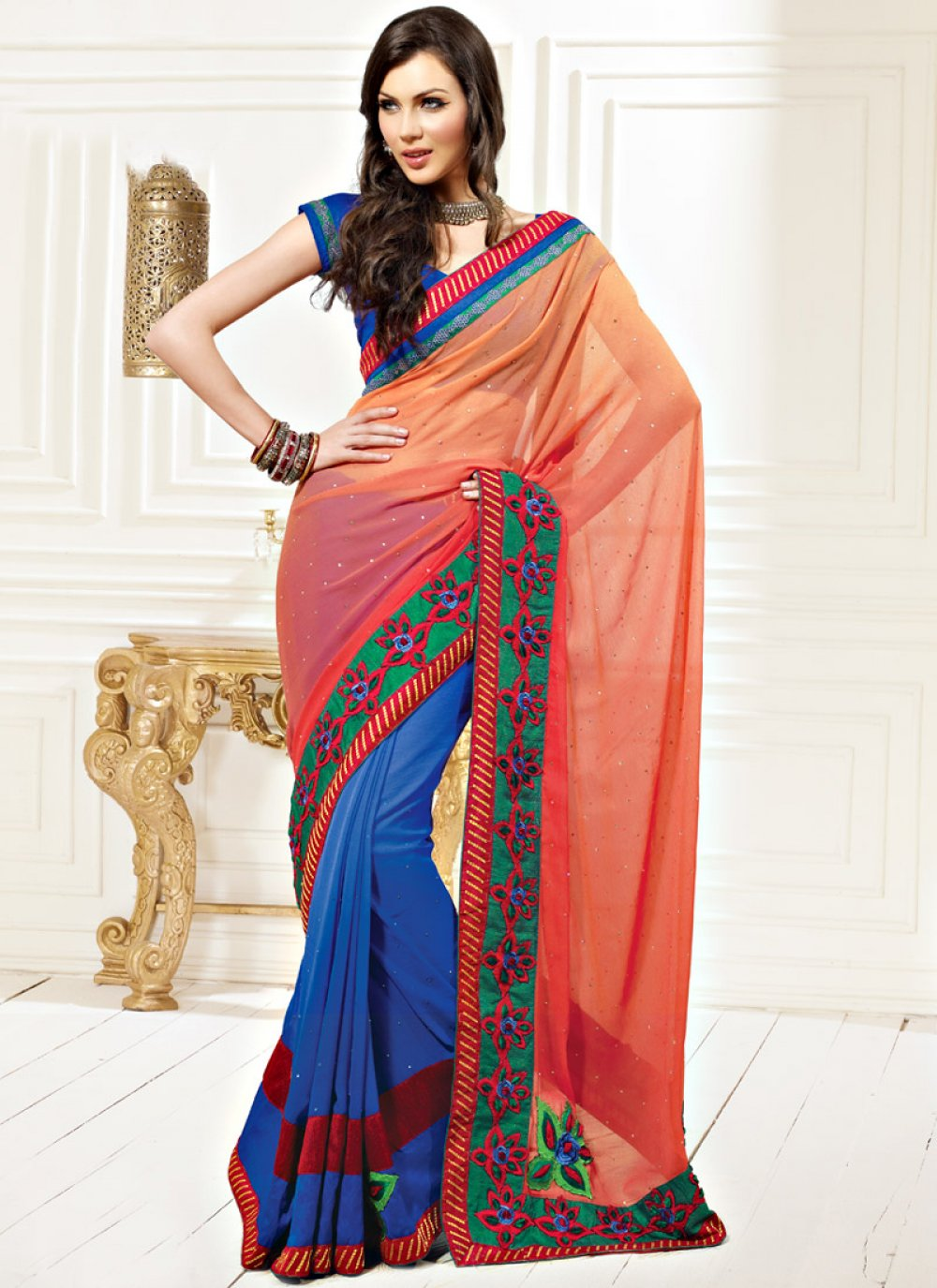 Peach and Blue Faux Chiffon and Faux Georgette Saree