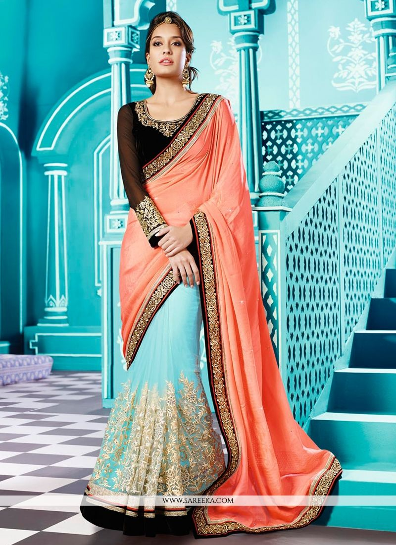Lisa Haydon Peach And Sky Blue Net And Georgette Saree