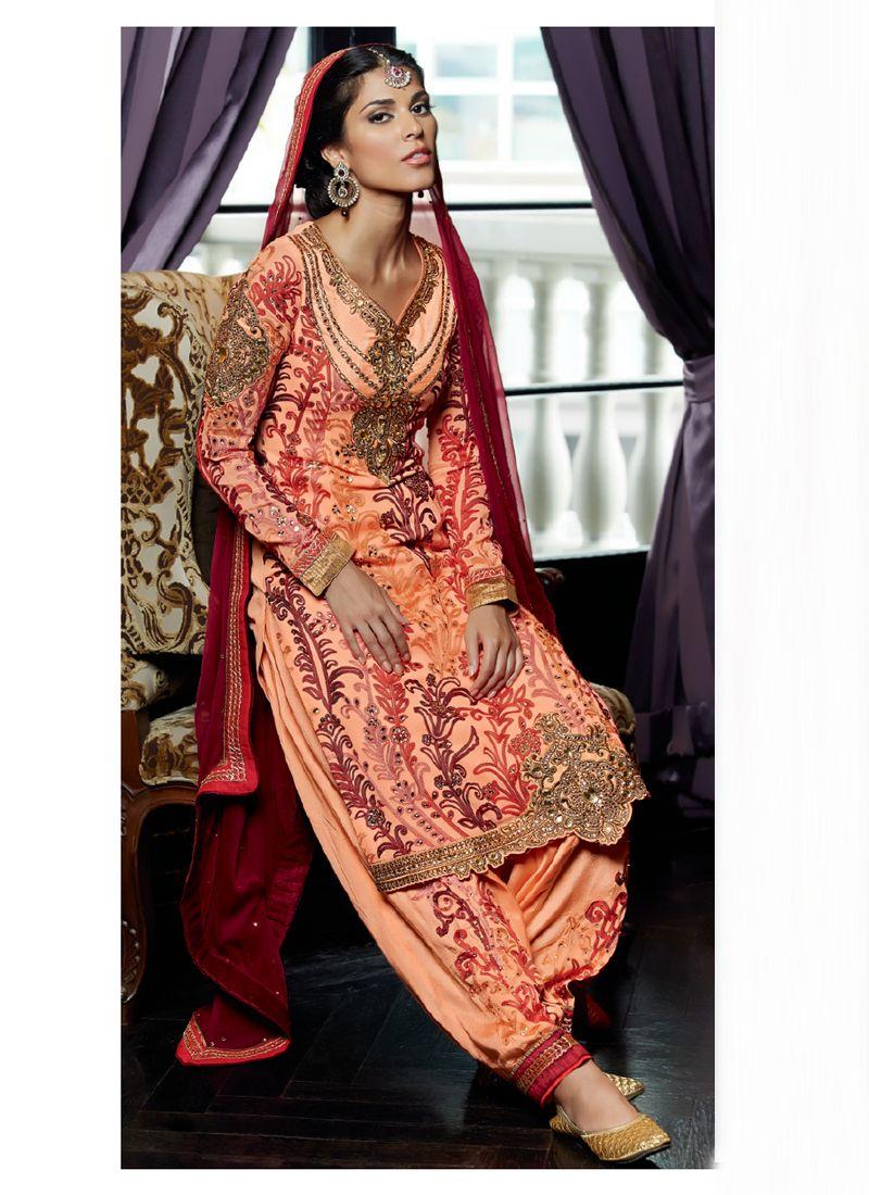 Peach Pure Georgette Punjabi Suit - Salwar Kameez