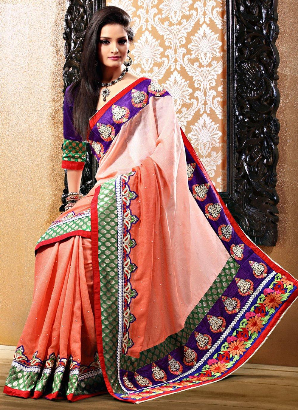 Peach Shaded Resham Enhanced Saree