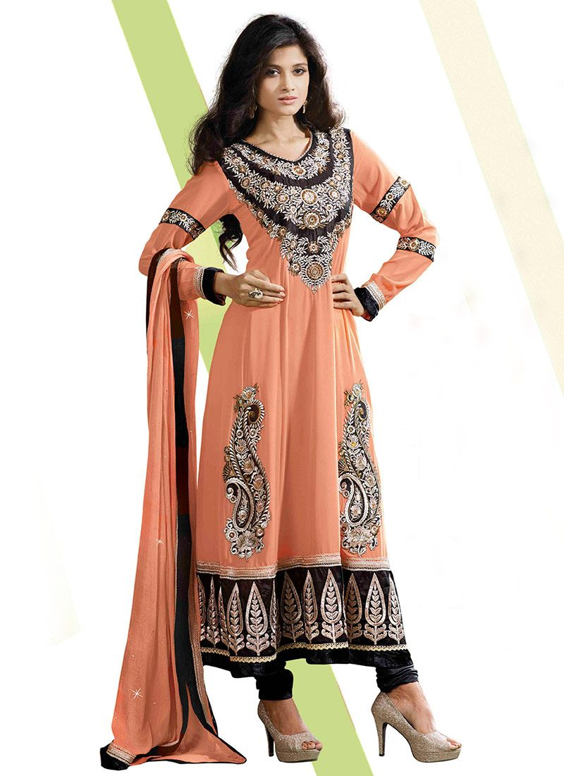 Peach Shaded Resham Work Faux Georgette Anarkali Suit