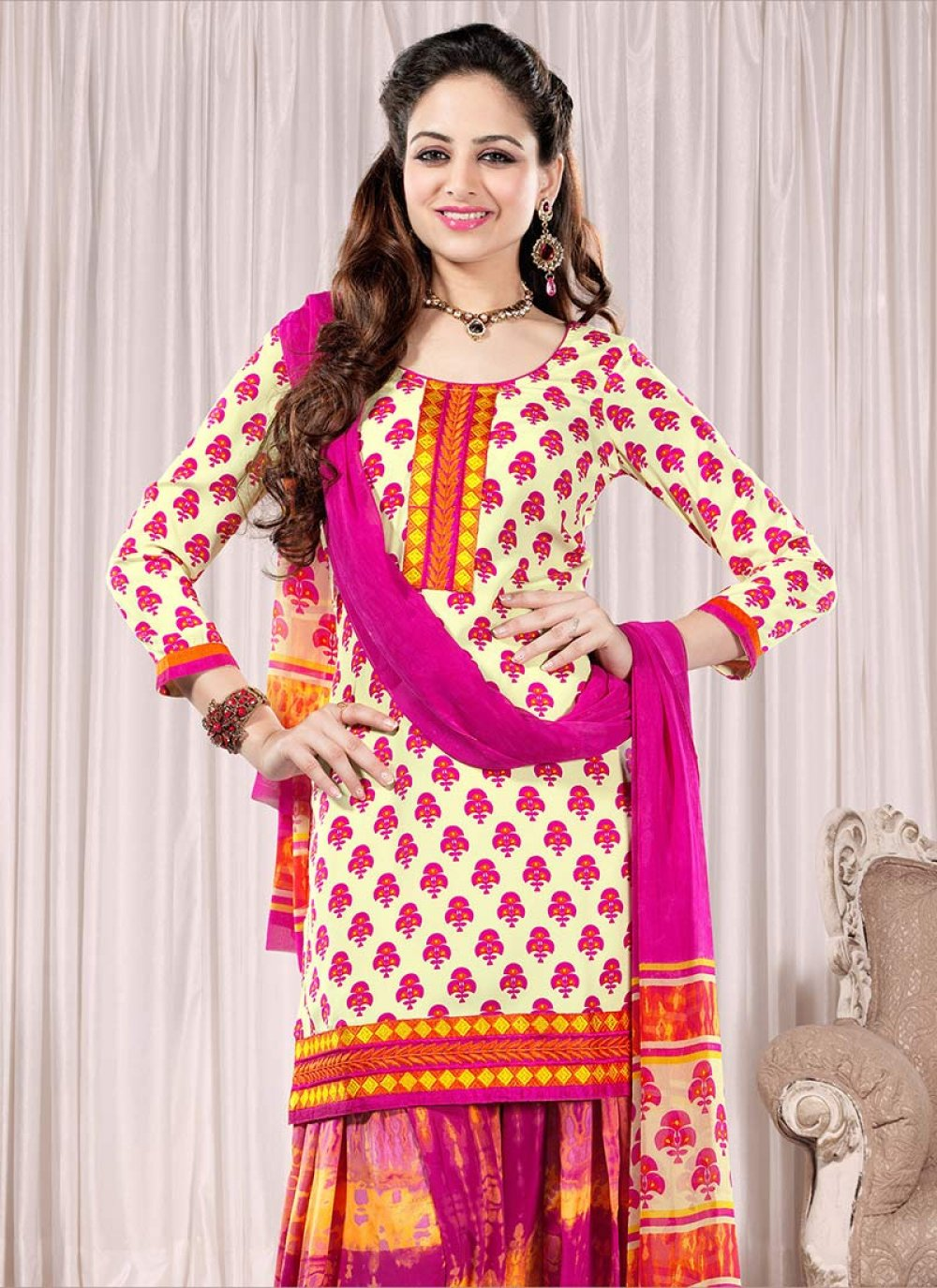 Cream And Pink Crepe Patiala Suit
