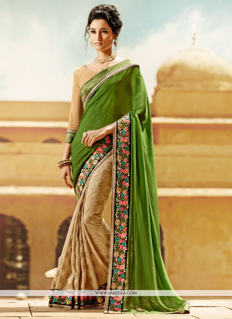 Georgette Beige and Green Embroidered Work Half N Half Designer Saree