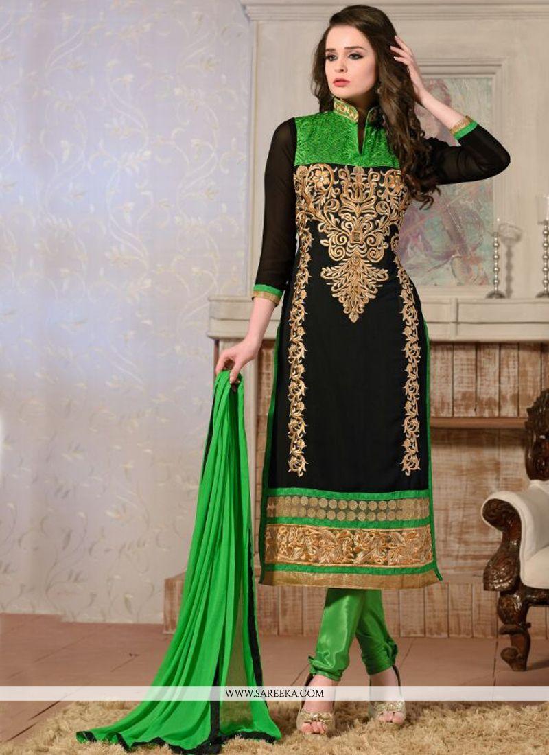 Georgette Black Churidar Salwar Kameez