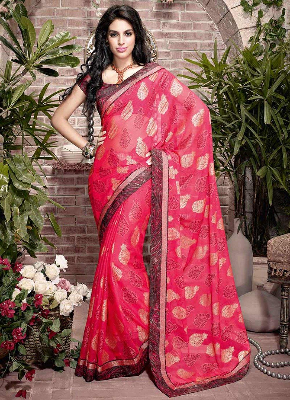 Pink Printed Jacquard Saree