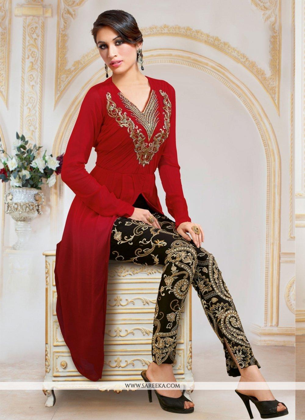 Red Designer Salwar Suit