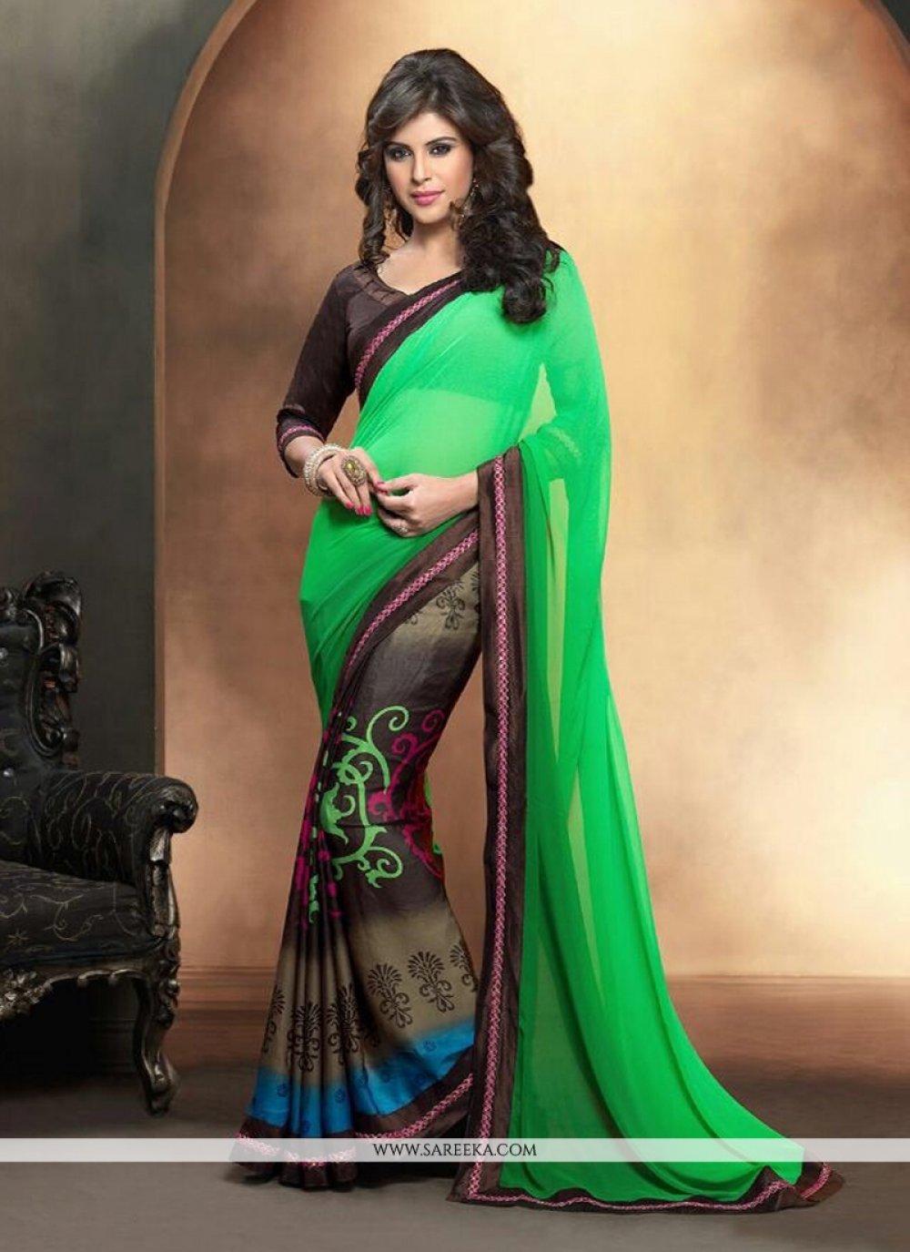 Satin Green and Black Casual Saree