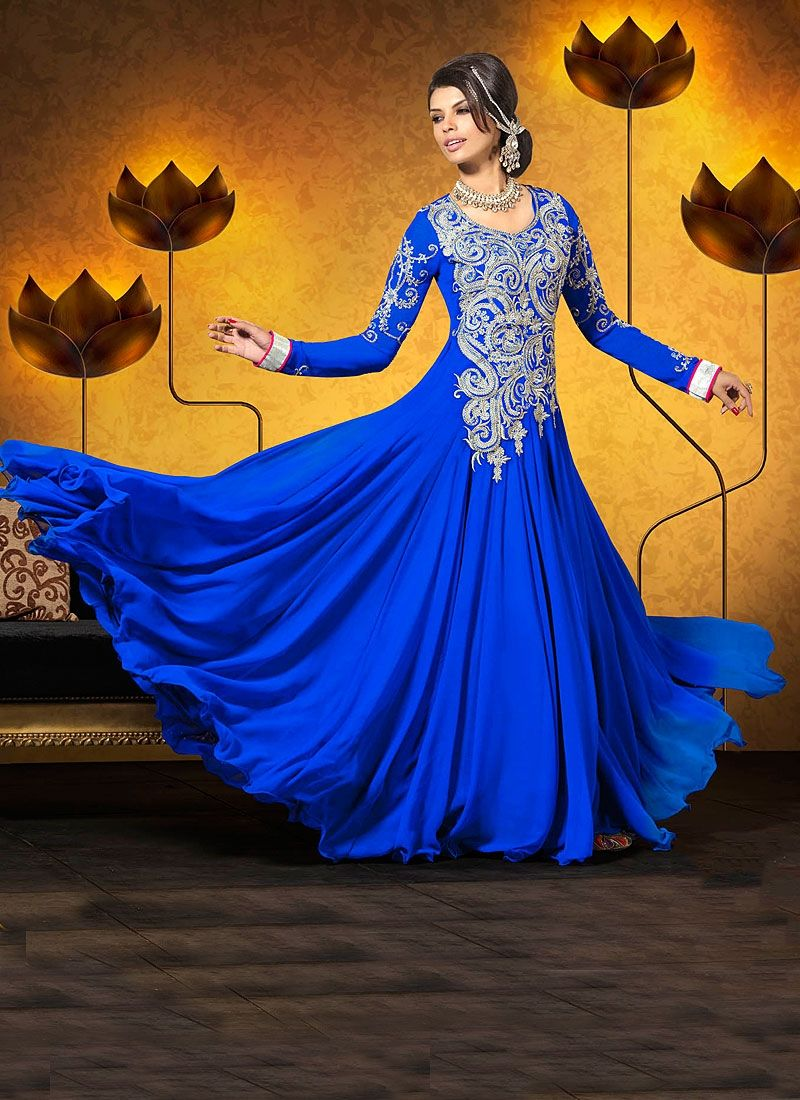 Blue Embroidery Work Georgette Anarkali Suit