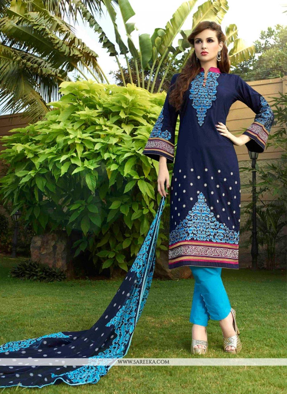 Cotton Satin Churidar Designer Suit