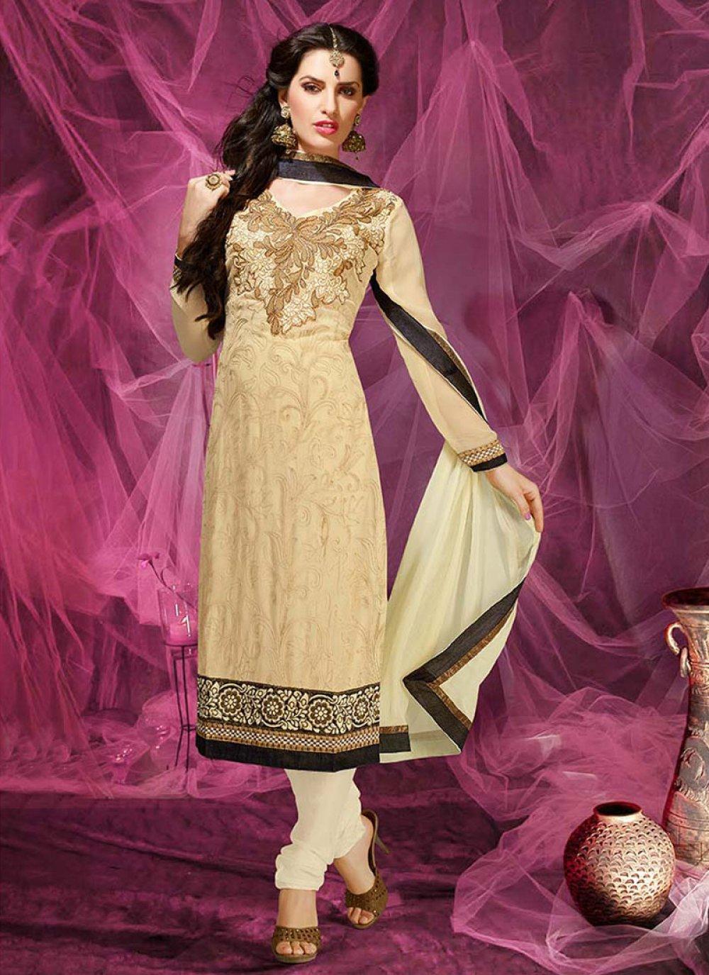 Cream Resham Work Net Churidar Suit