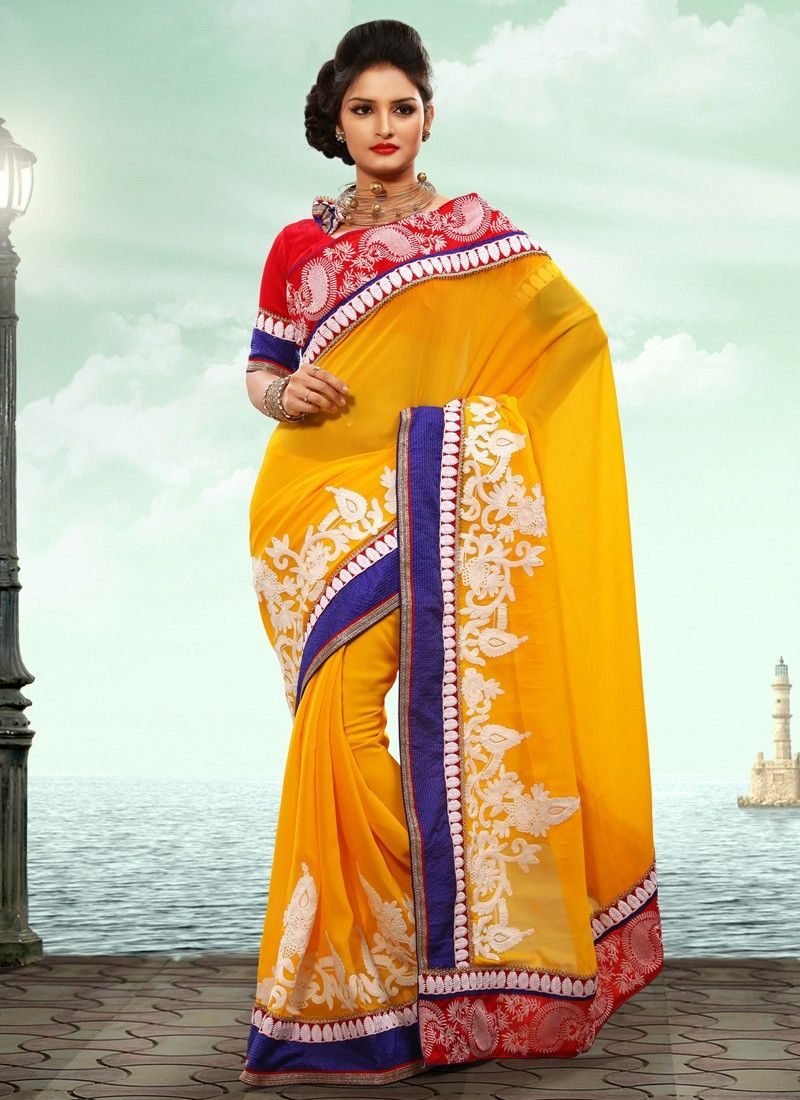 Gold And Red Viscose Patry Wear Saree