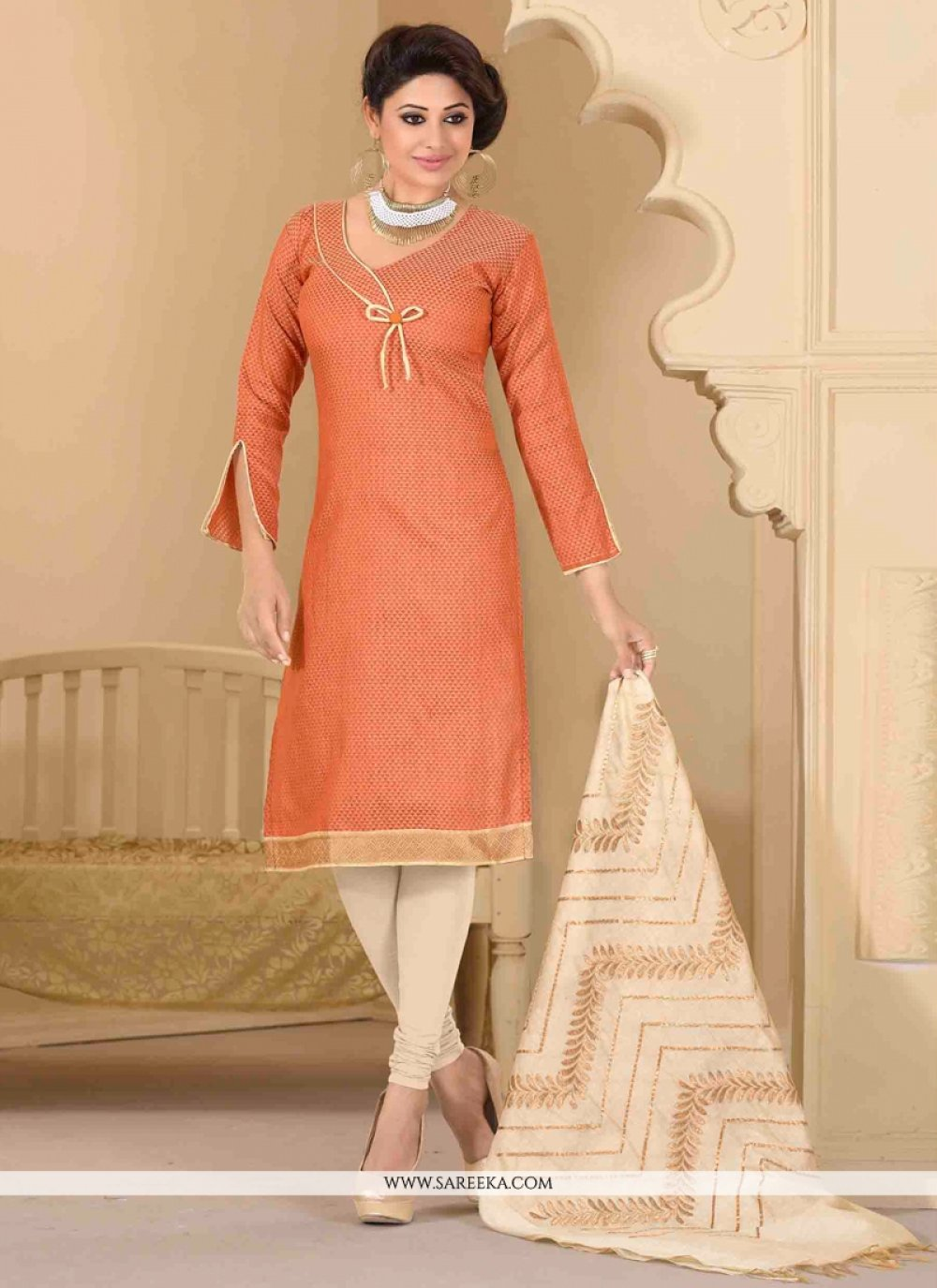 Lace Work Peach Churidar Salwar Suit