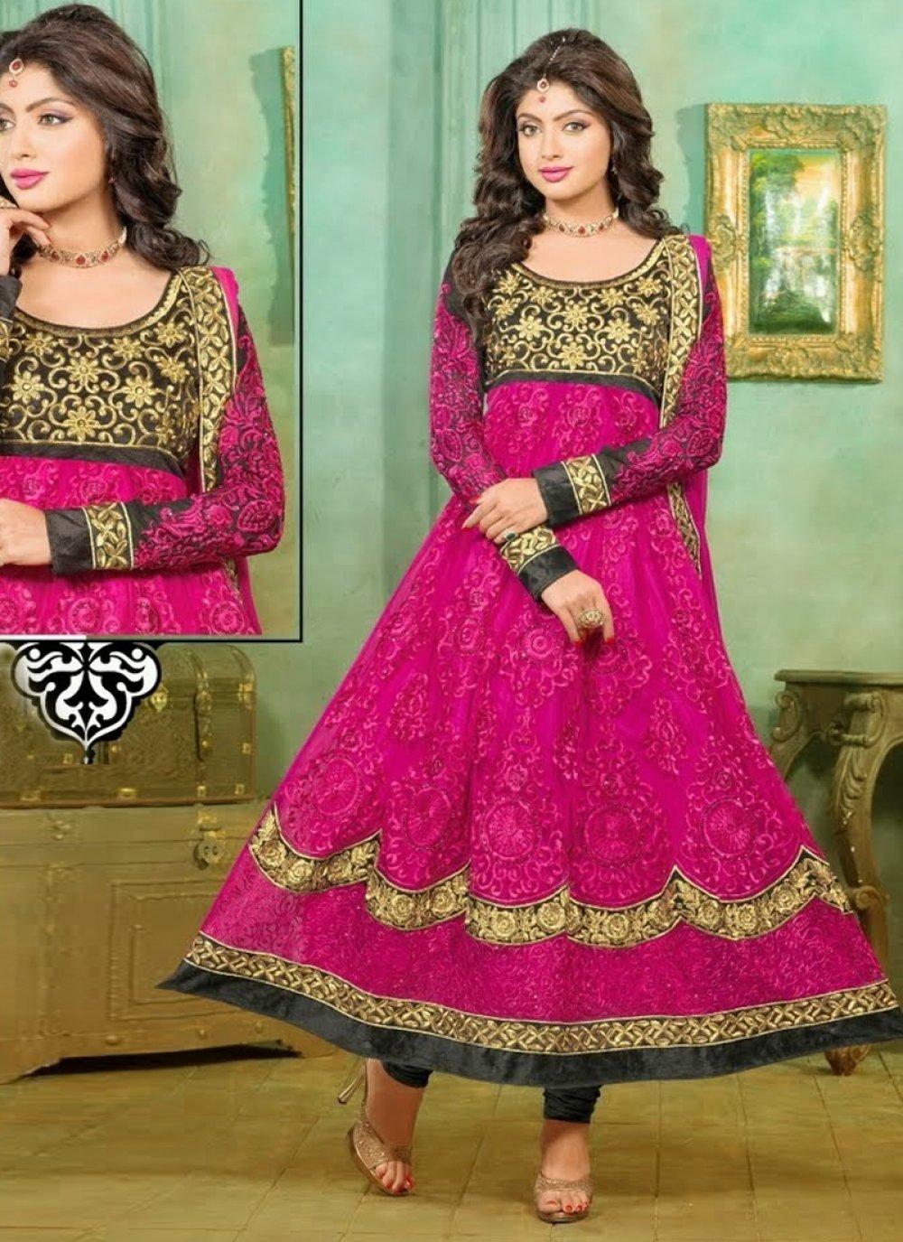 Magenta Net Designer Anarkali Suit