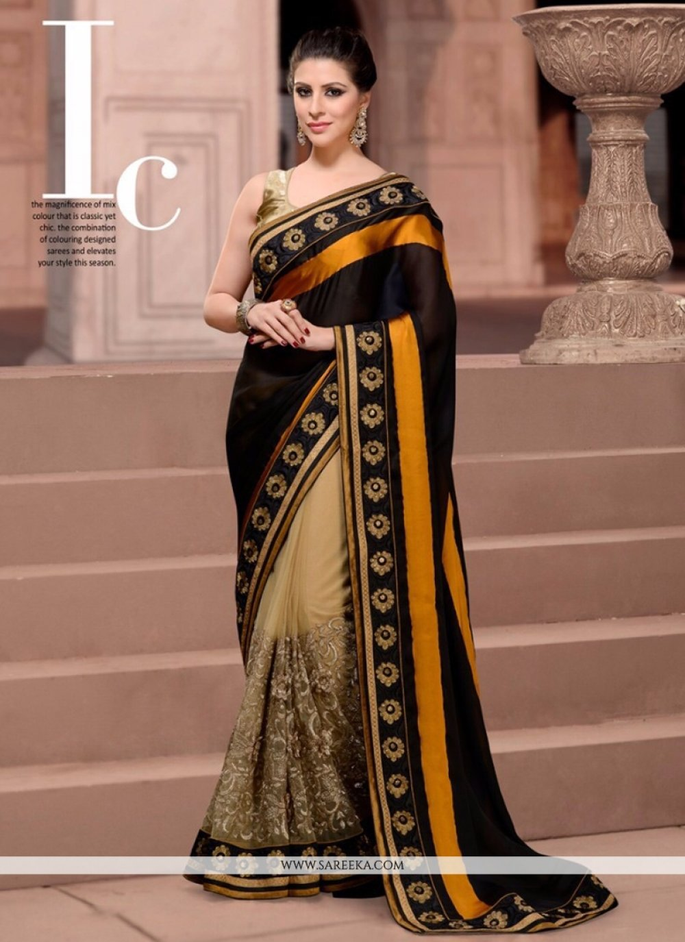 Net Black Designer Saree