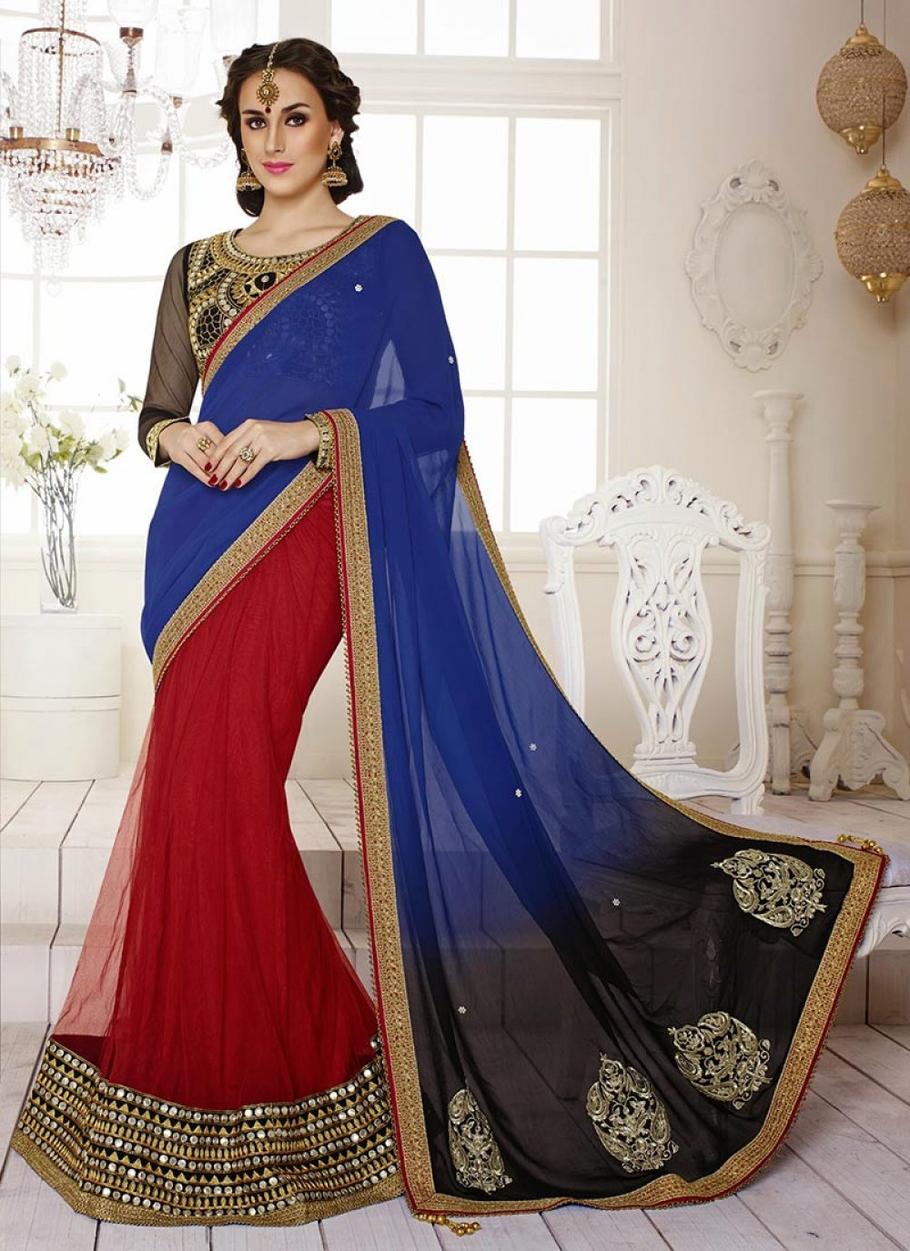 Red And Blue Georgette Lehenga Saree