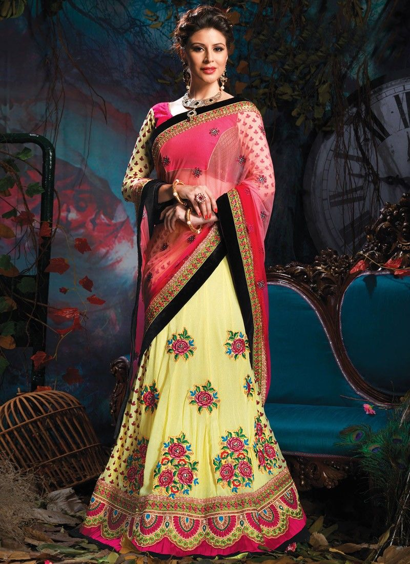 Yellow And Pink Resham Work Lehenga Saree
