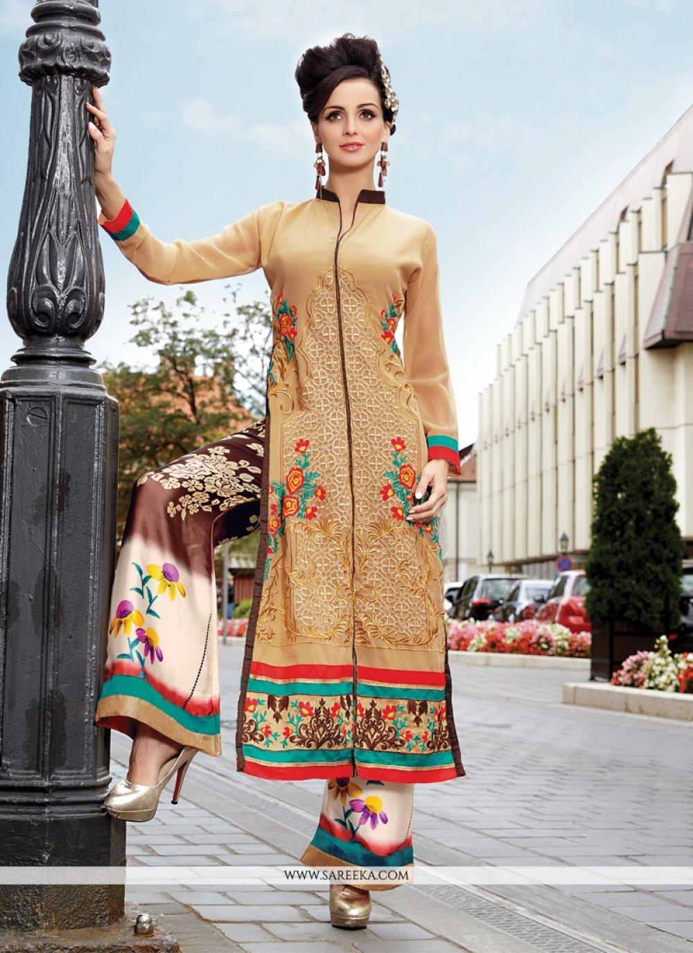 Beige Designer Palazzo Salwar Suit