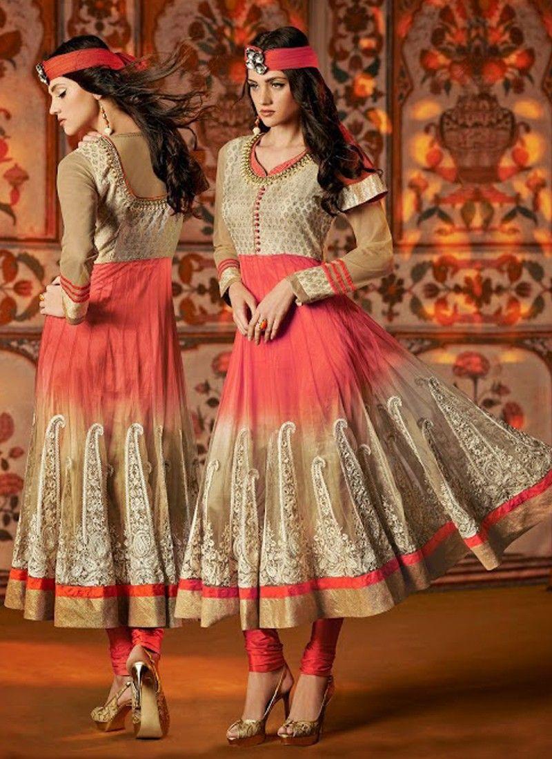 Beige And Pink Stone Work Net Anarkali Suit