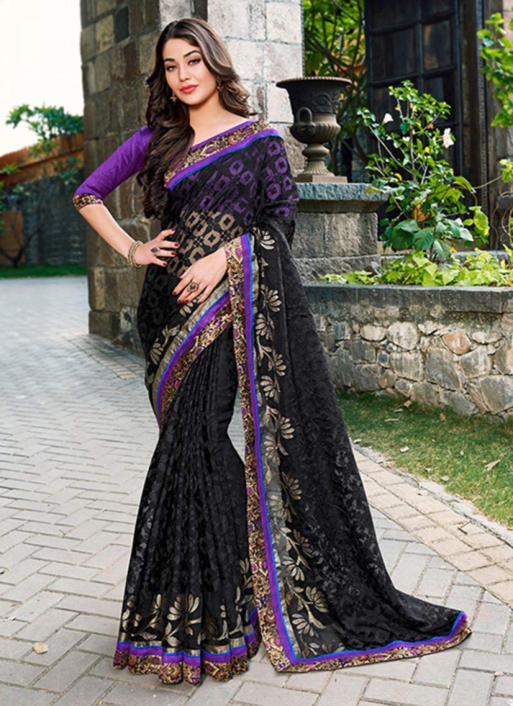 Black Tissue Saree
