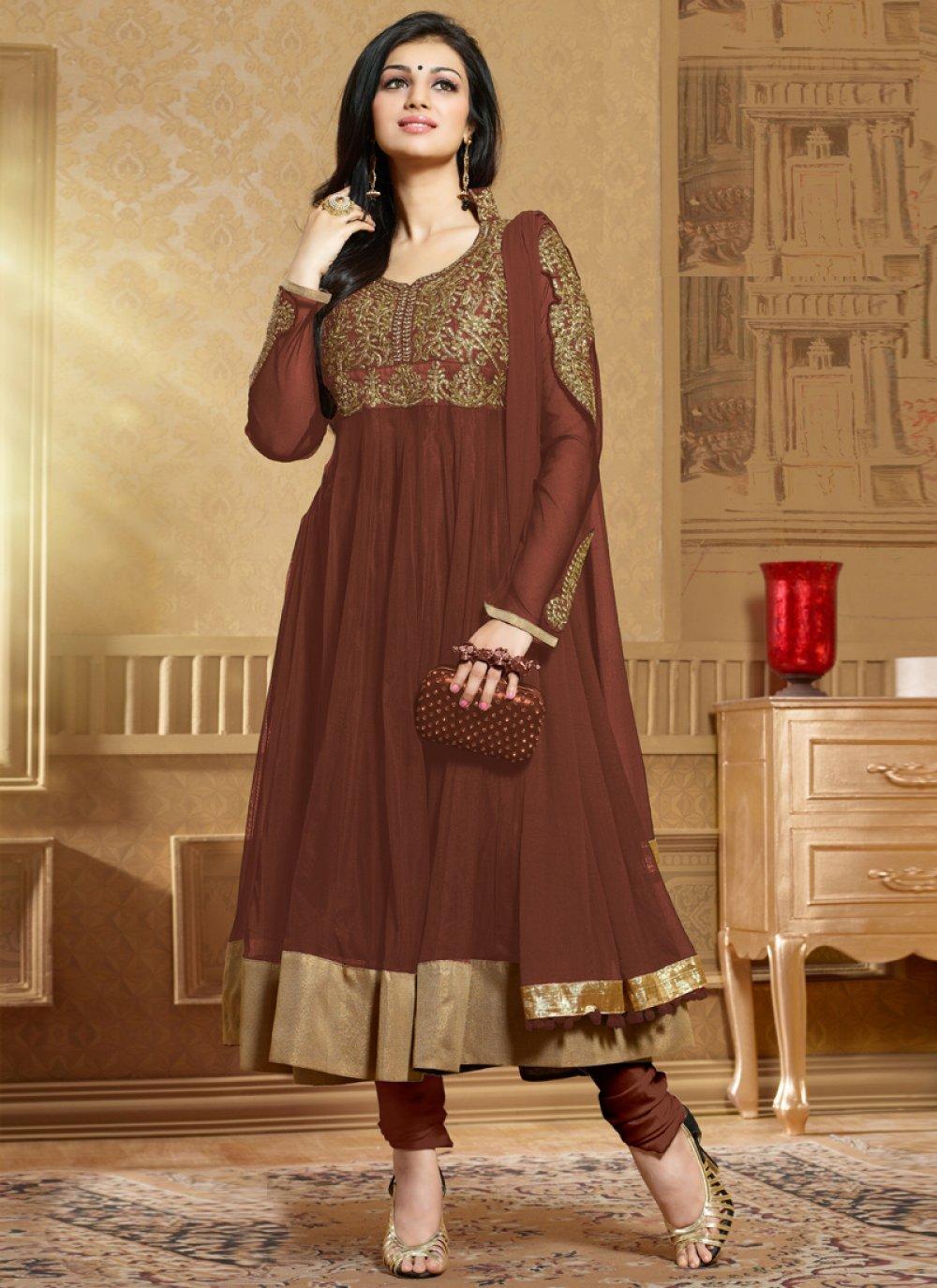 Brown Zari Work Anarkali Suit
