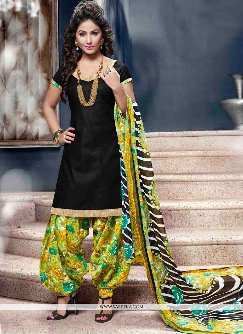 Cotton   Black Lace Work Designer Patiala Suit