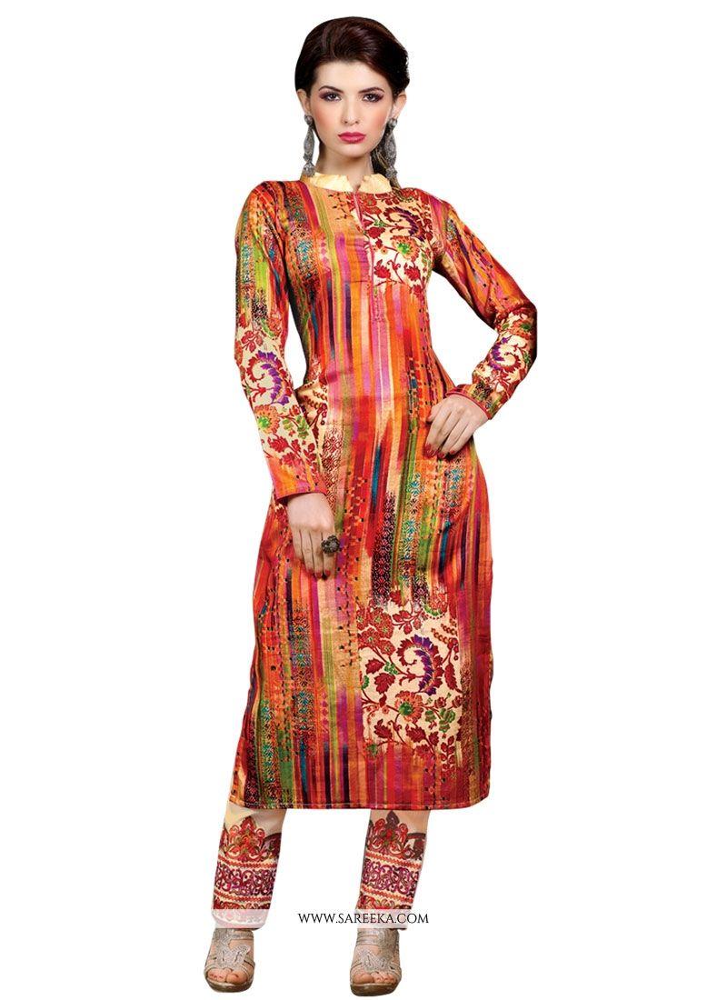 Cotton Satin Print Work Designer Suit
