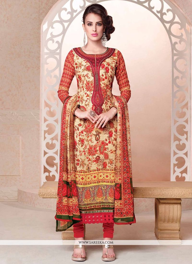 Cream Embroidered Work Georgette Churidar Salwar Suit