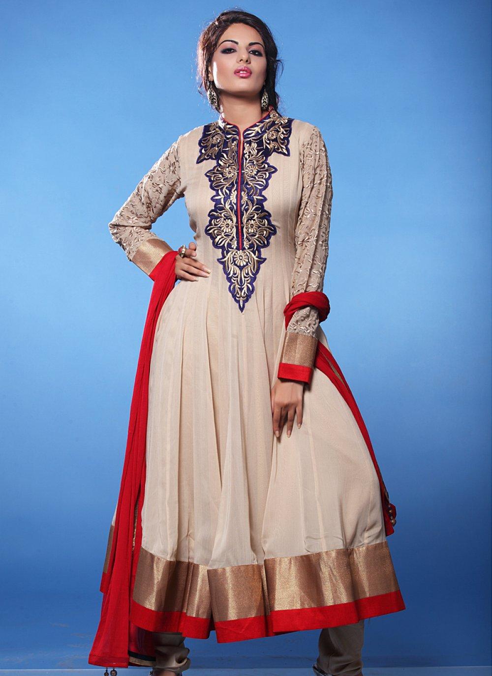 Cream Embroidery Work Net Anarkali Suit