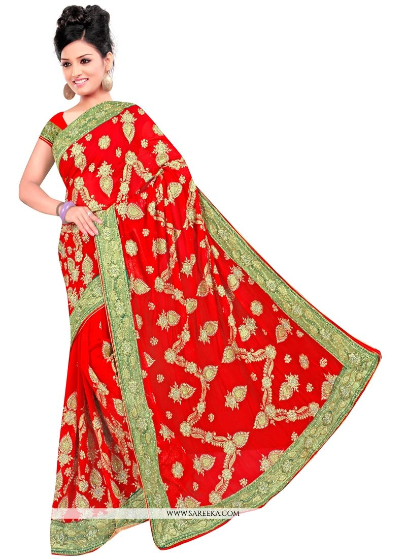 Georgette Embroidered Work Contemporary Style Saree