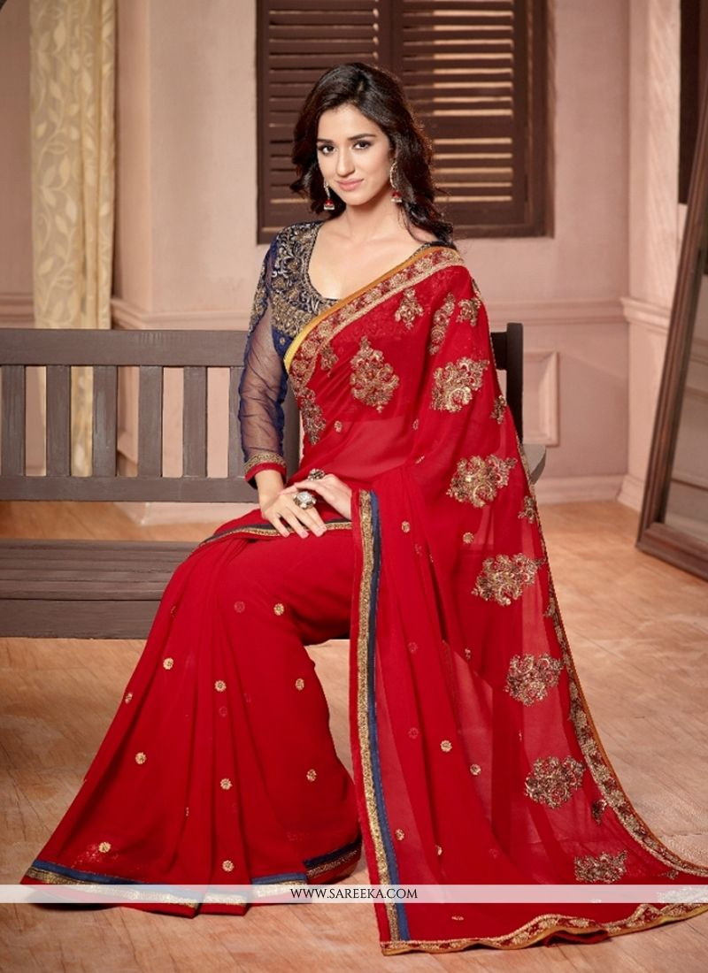 Georgette Red Zari Work Classic Saree