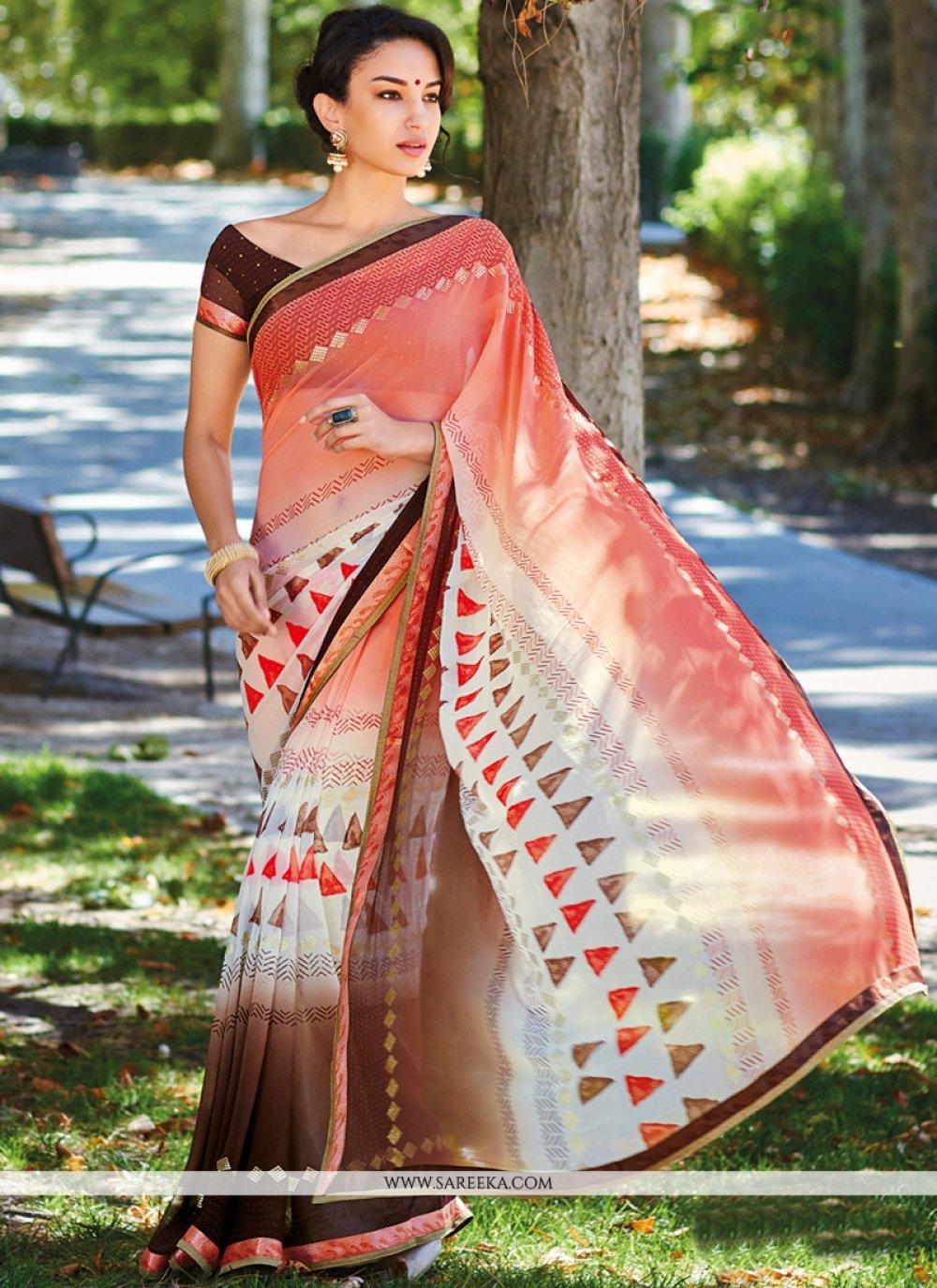 Multi Colour Georgette Casual Saree