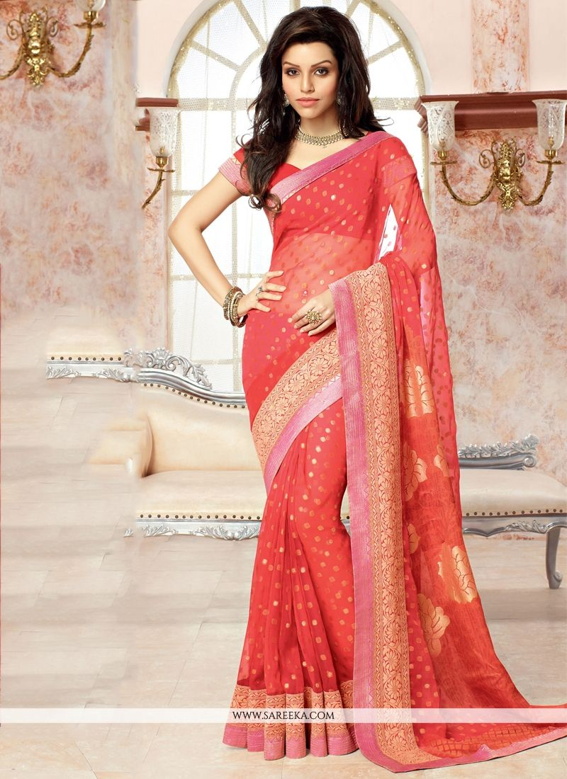 Patch Border Work Red Faux Chiffon Casual Saree