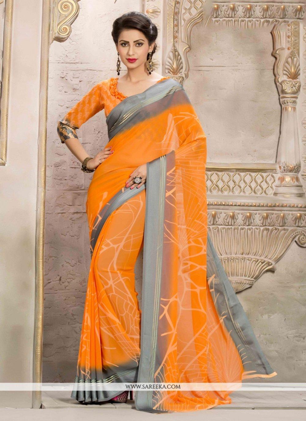 Print Work Orange Casual Saree