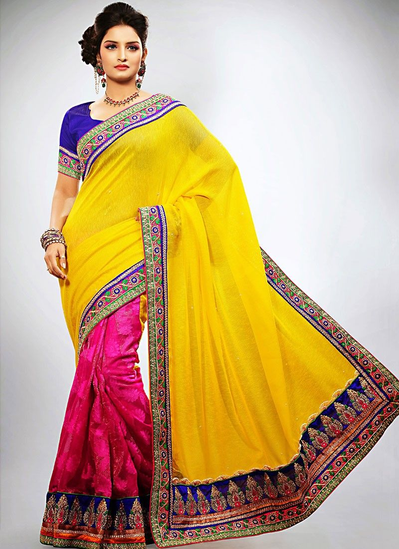 Yellow Jacquard Half And Half Saree