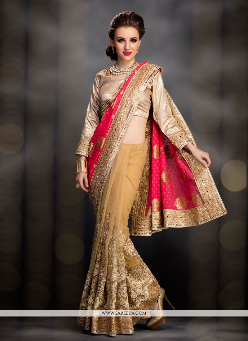 Beige and Red Patch Border Work Net Designer Bridal Sarees