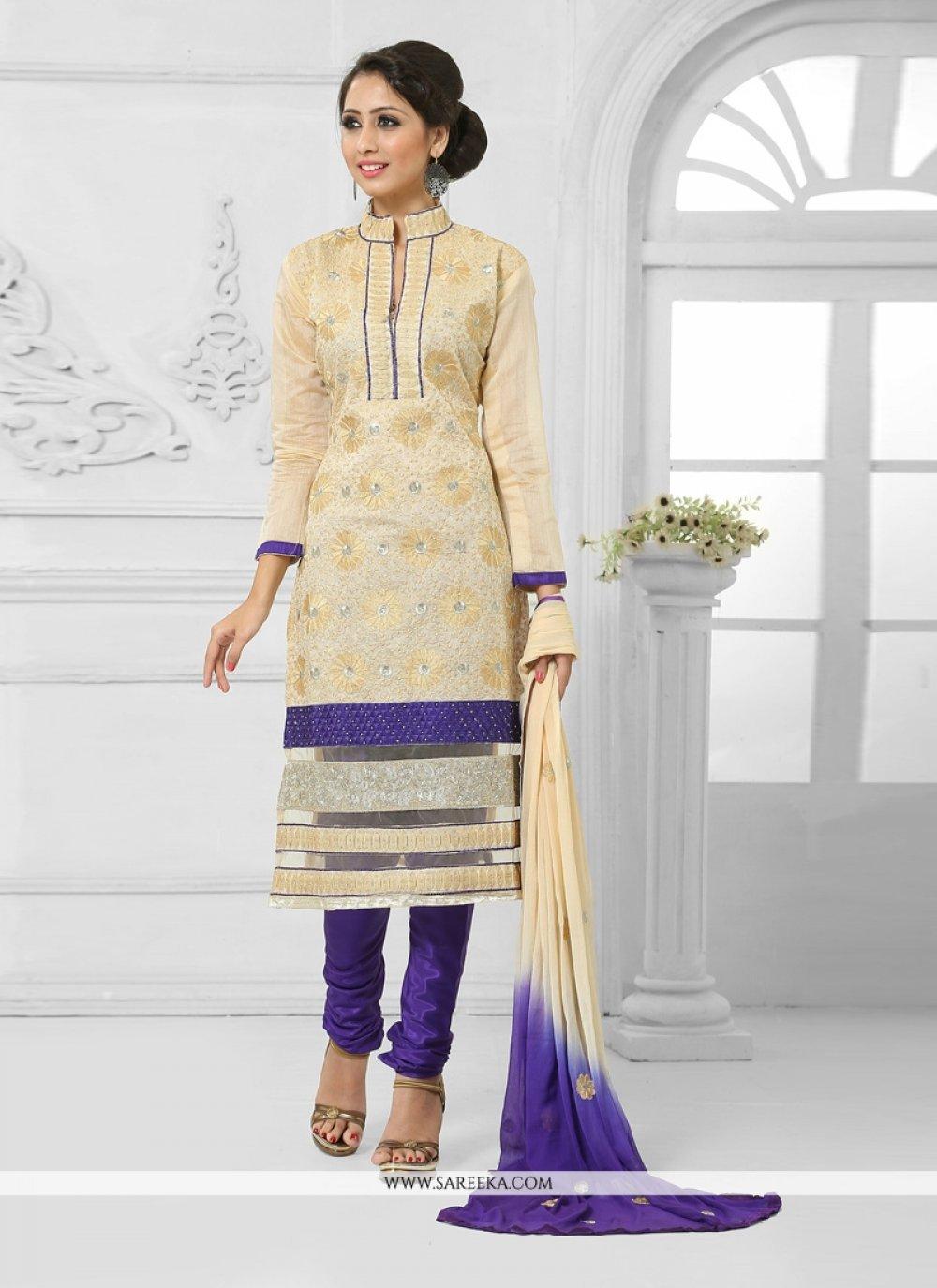Cream and Blue Churidar Salwar Suit