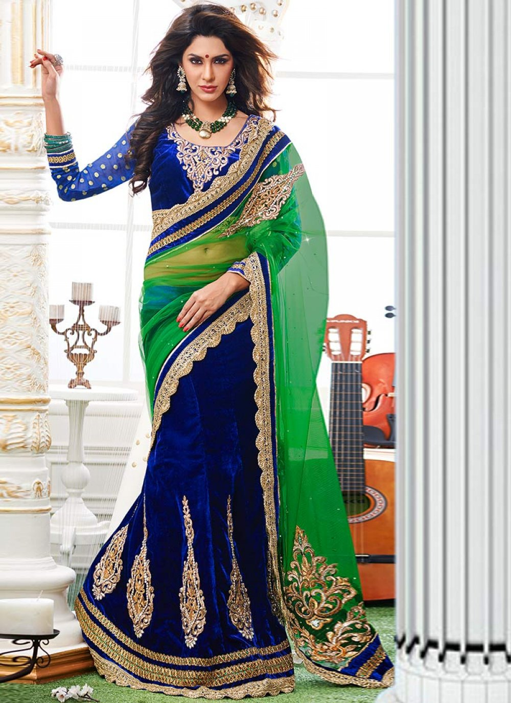 Green And Blue Velvet Lehenga Saree