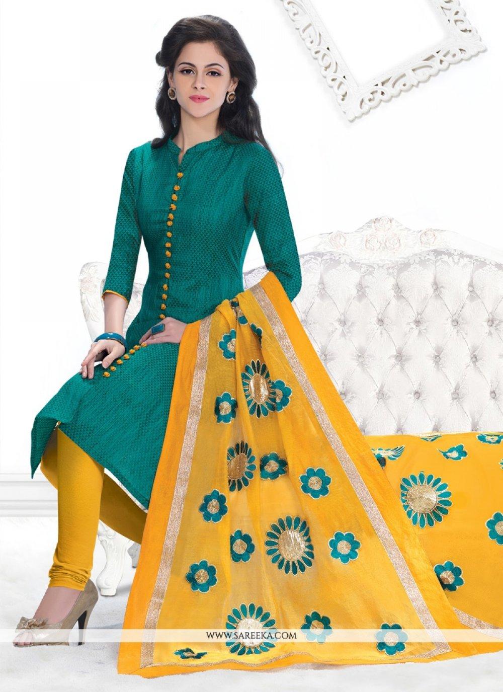 Green Lace Work Jacquard Churidar Designer Suit