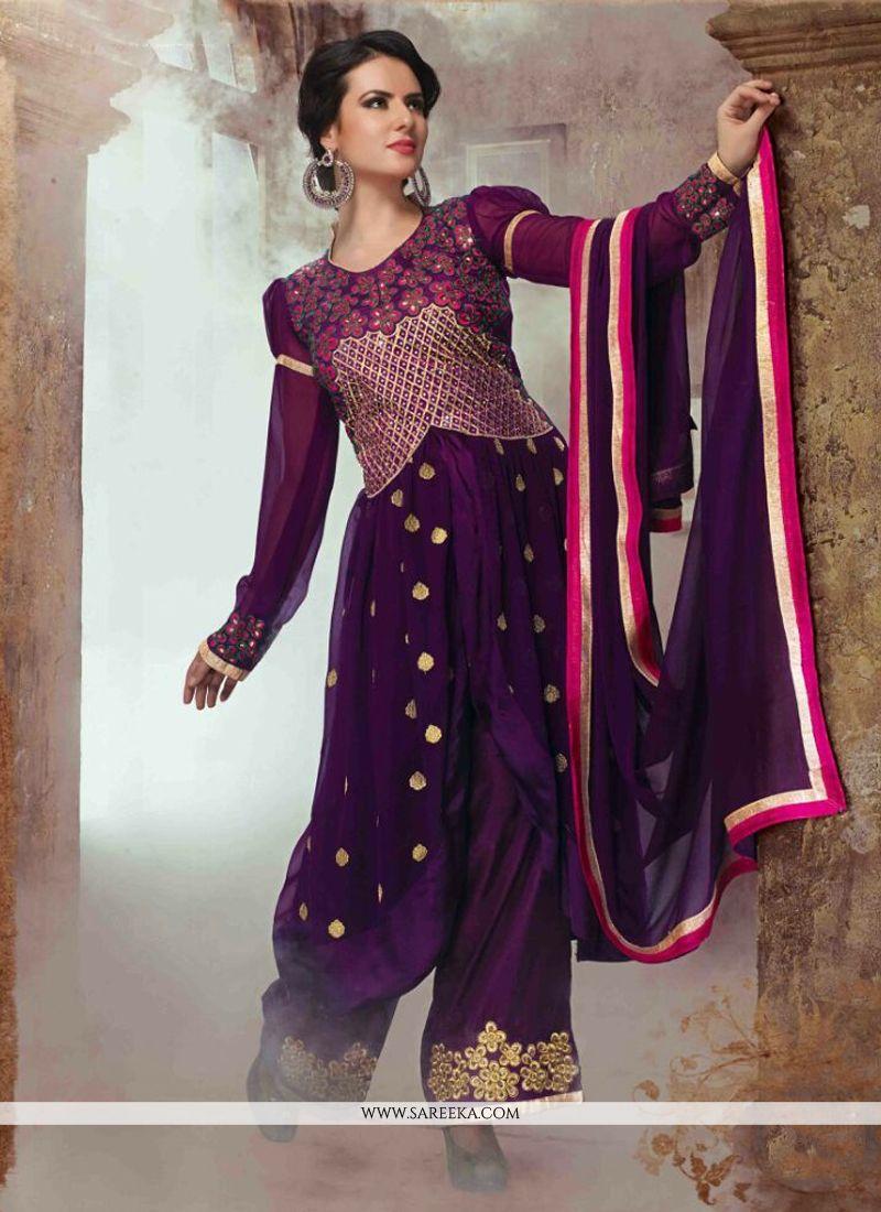 Lace Work Georgette Designer Salwar Suit