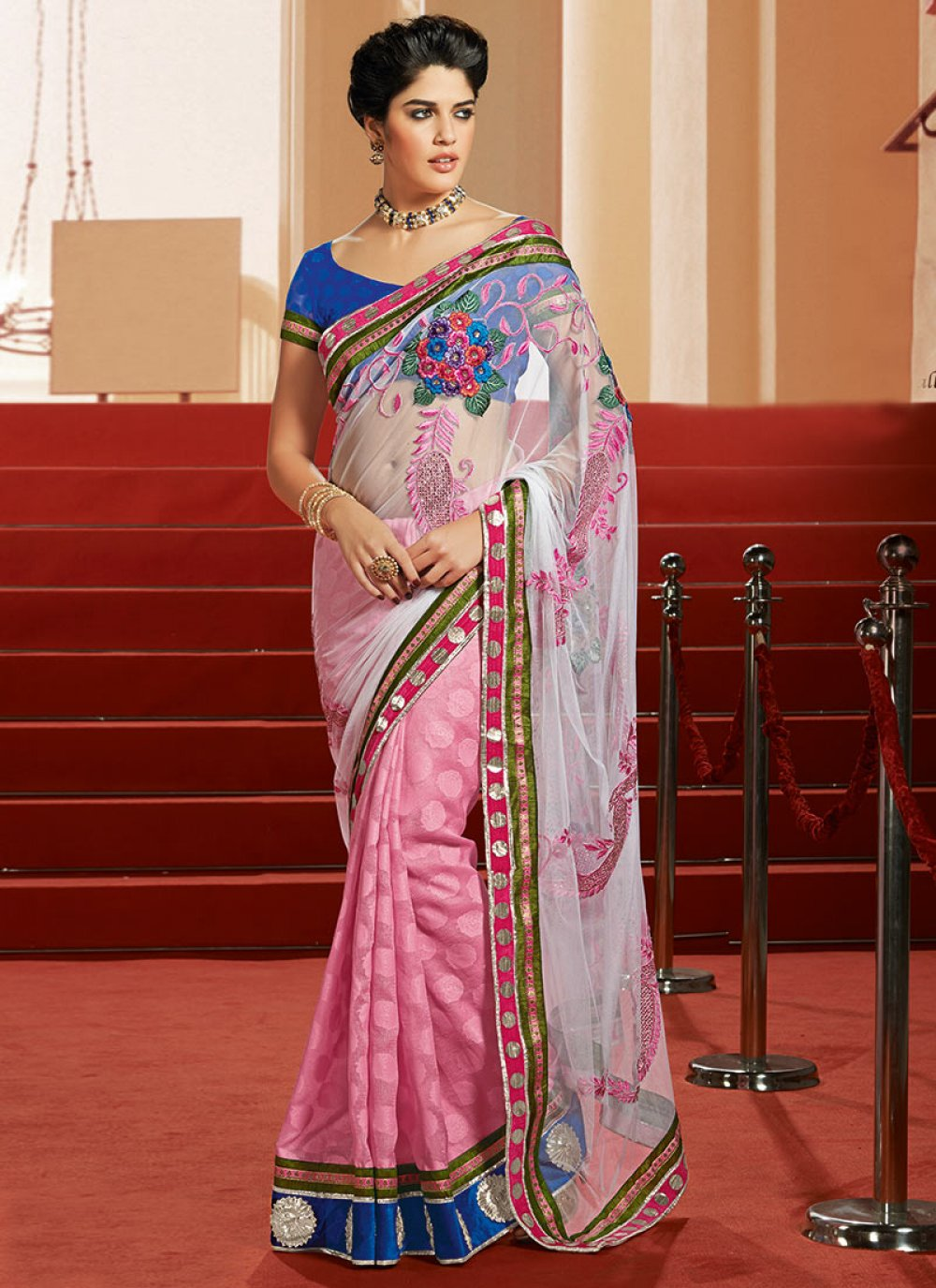 Pink And Off White Half And Half Saree