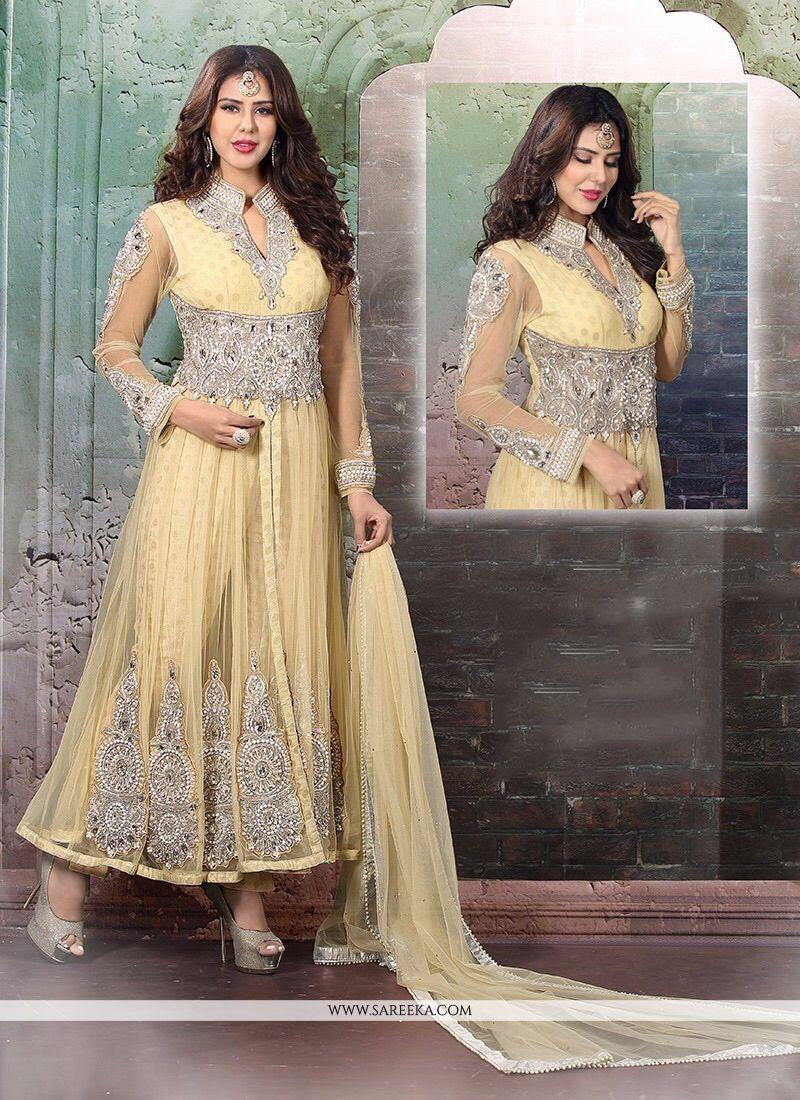 Viscose Cream Anarkali Salwar Suit