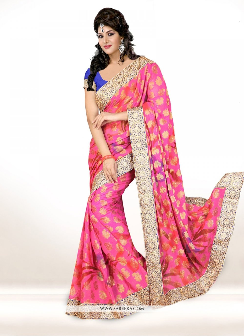 Viscose Patch Border Work Designer Saree